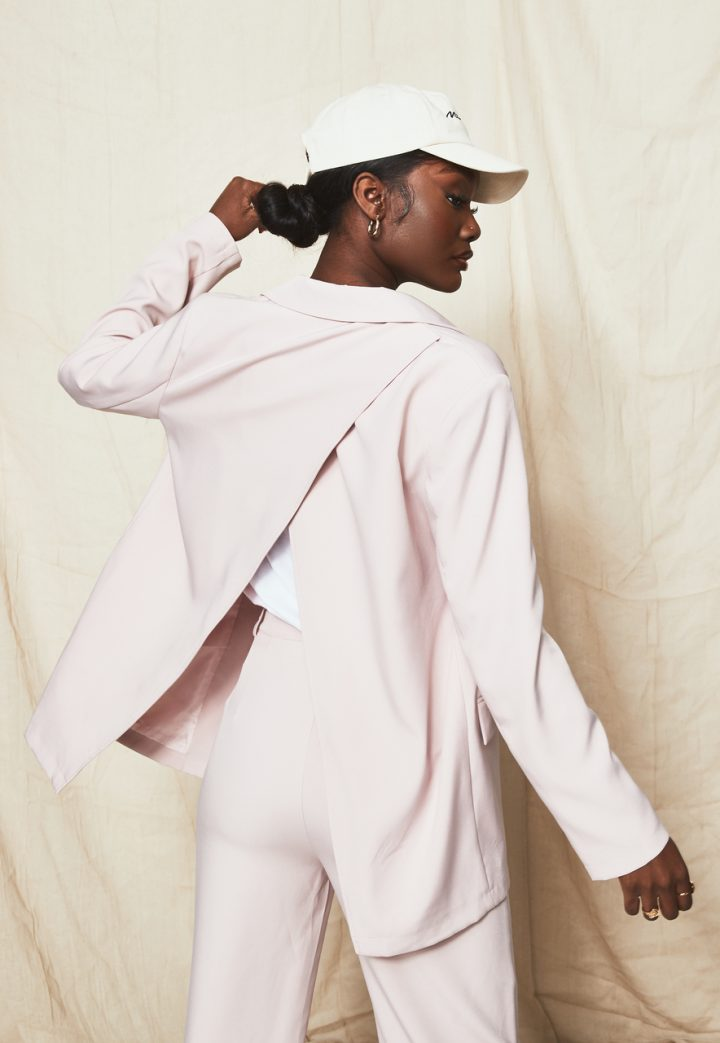 pink blazer cut out back pink trousers nude cap missguided new in