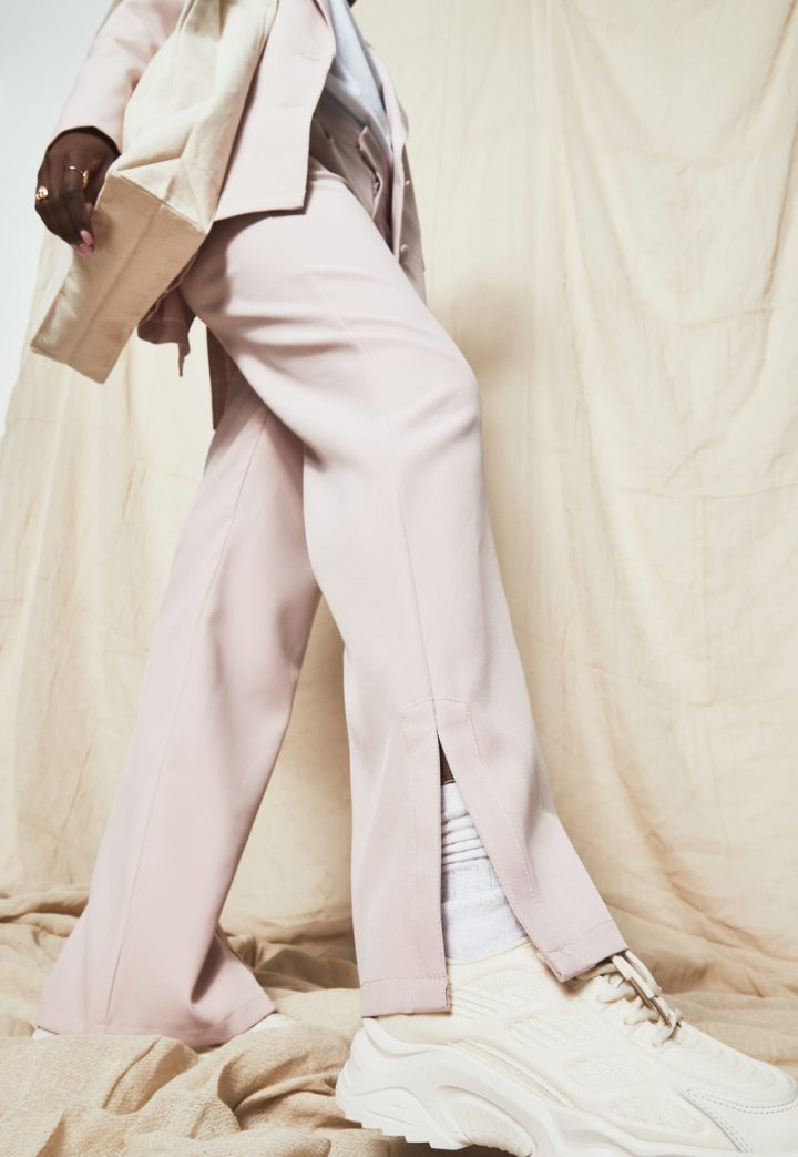 pink trousers white chunky trainers nude bag missguided new season