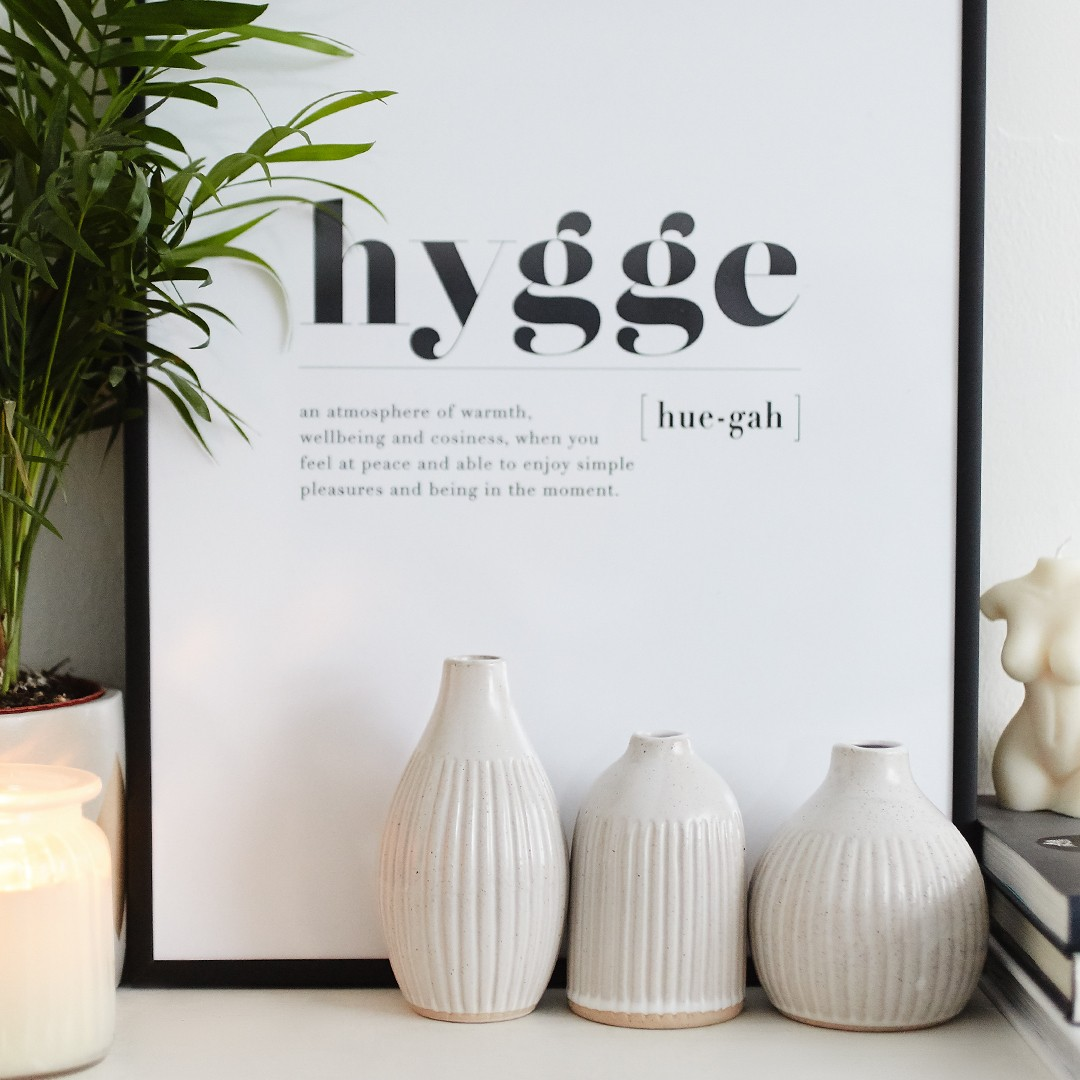 homeware aesthetic frame with message hygge
