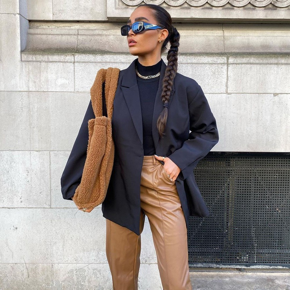 missguided zoom call outfits black blazer tan leather trousers pony tail