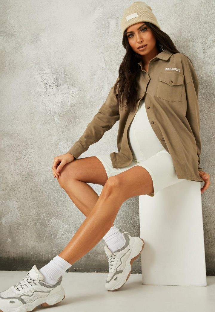 khaki missguided jersey embroidered maternity shirt