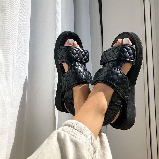 photo of chunky black sandals