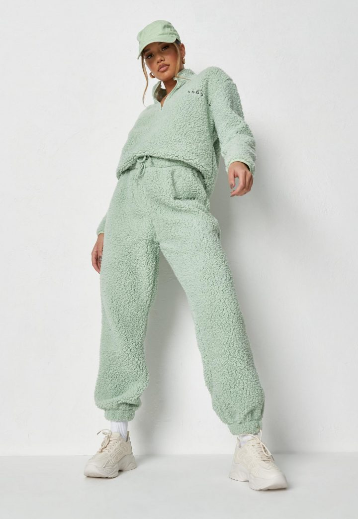 sage missguided borg sweatshirt and joggers co ord set