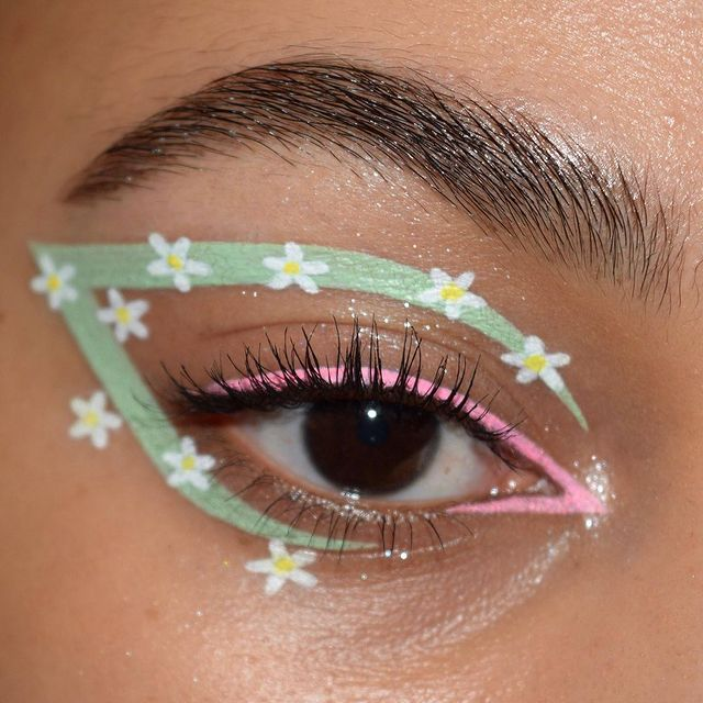 girl with spring themed eyeliner