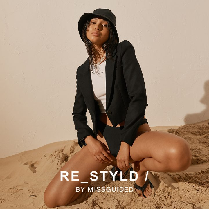 Re_styld text over girl in black blazer and knickers
