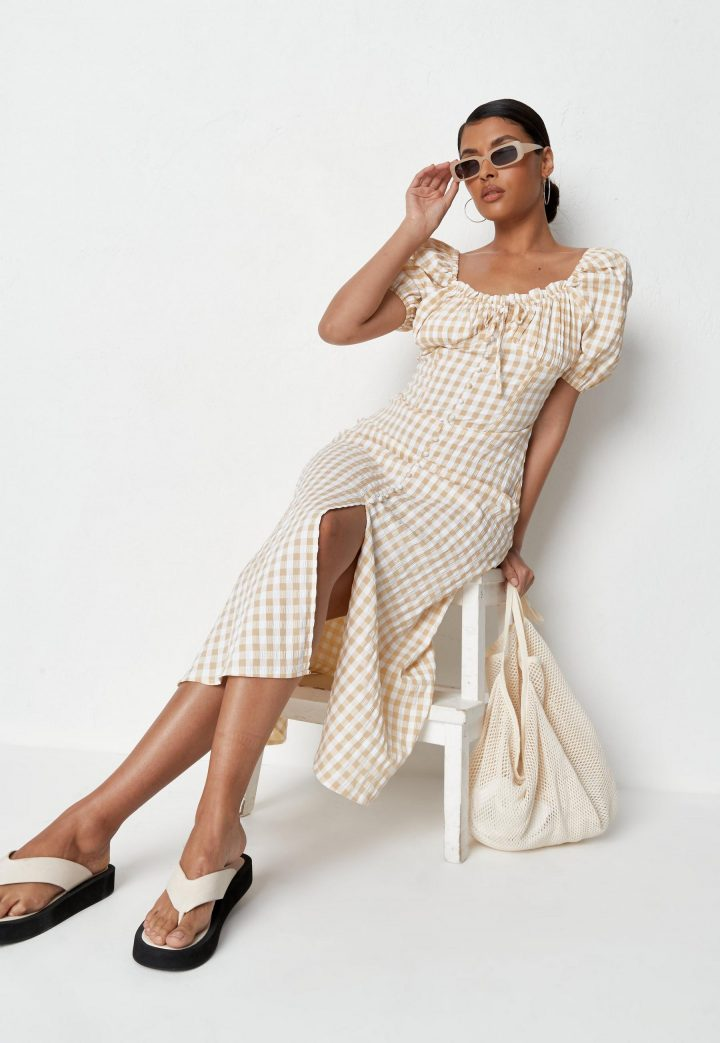 yellow gingham milkmaid button front midi dress