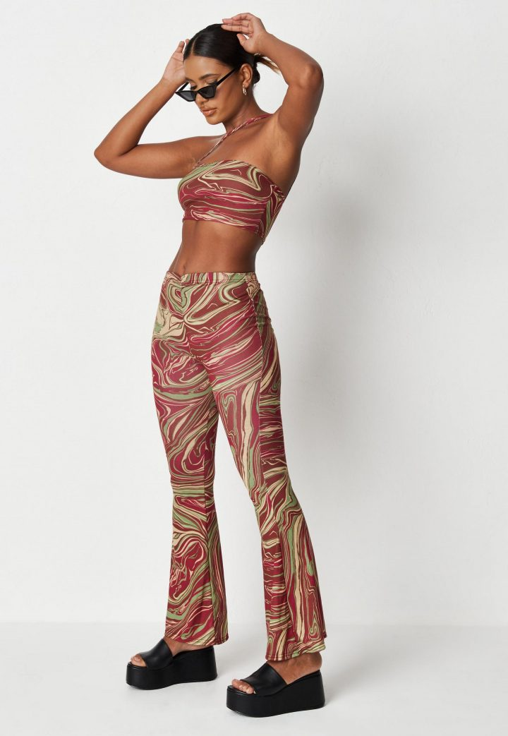 burgundy marble print crop top and trousers co ord set