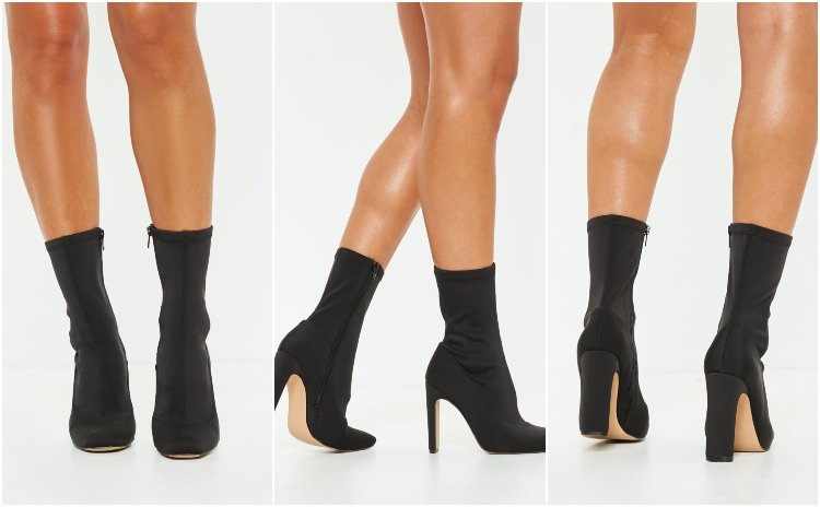 missguided black illusion heel sock boot