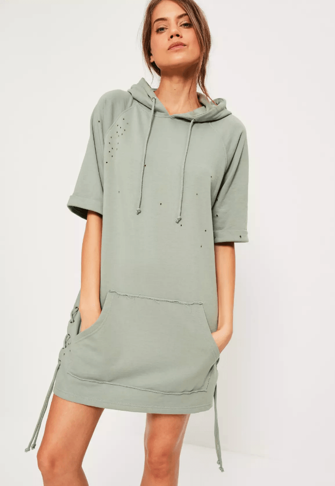 green hooded jumper dress