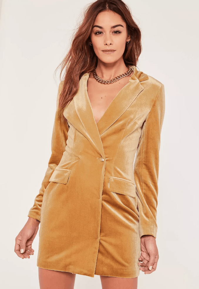 yellow velvet blazer dress