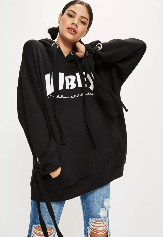 black oversized hoody