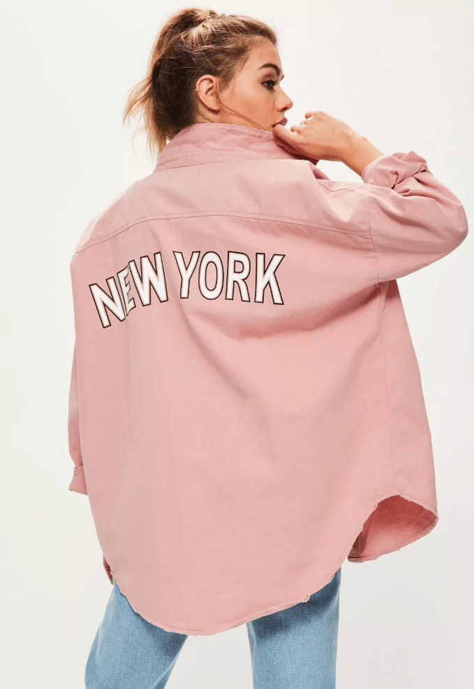 pink oversized denim shirt