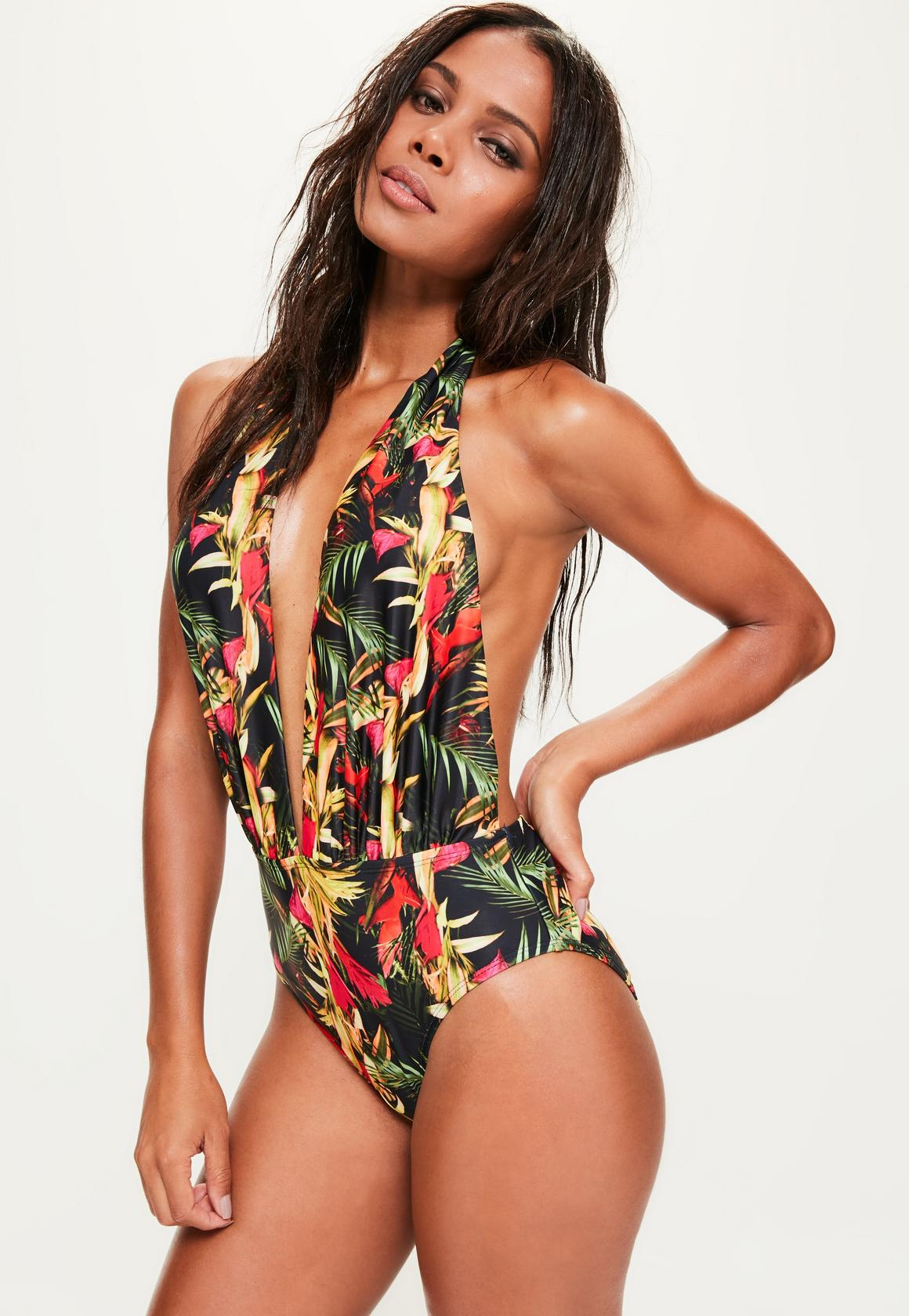 black tropical swimsuit