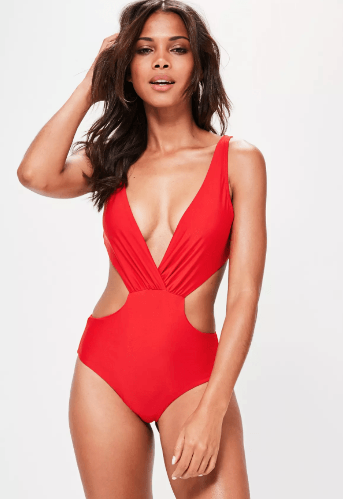 red cut out swimsuit