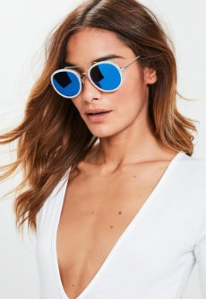 Blue Rounded Metal Inlay Sunglasses