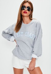 Grey West Coast Slogan Sweatshirt