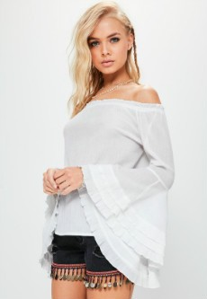 Cheesecloth Flare Sleeve Blouse