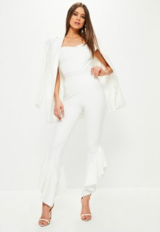 White Frill Side Cigarette Trousers