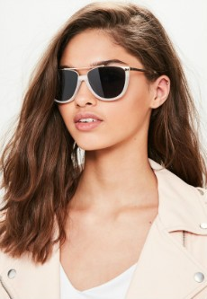 White Metal Contrast Sunglasses