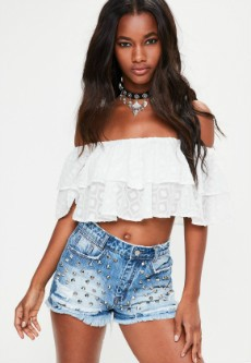 white double layer frill crop top