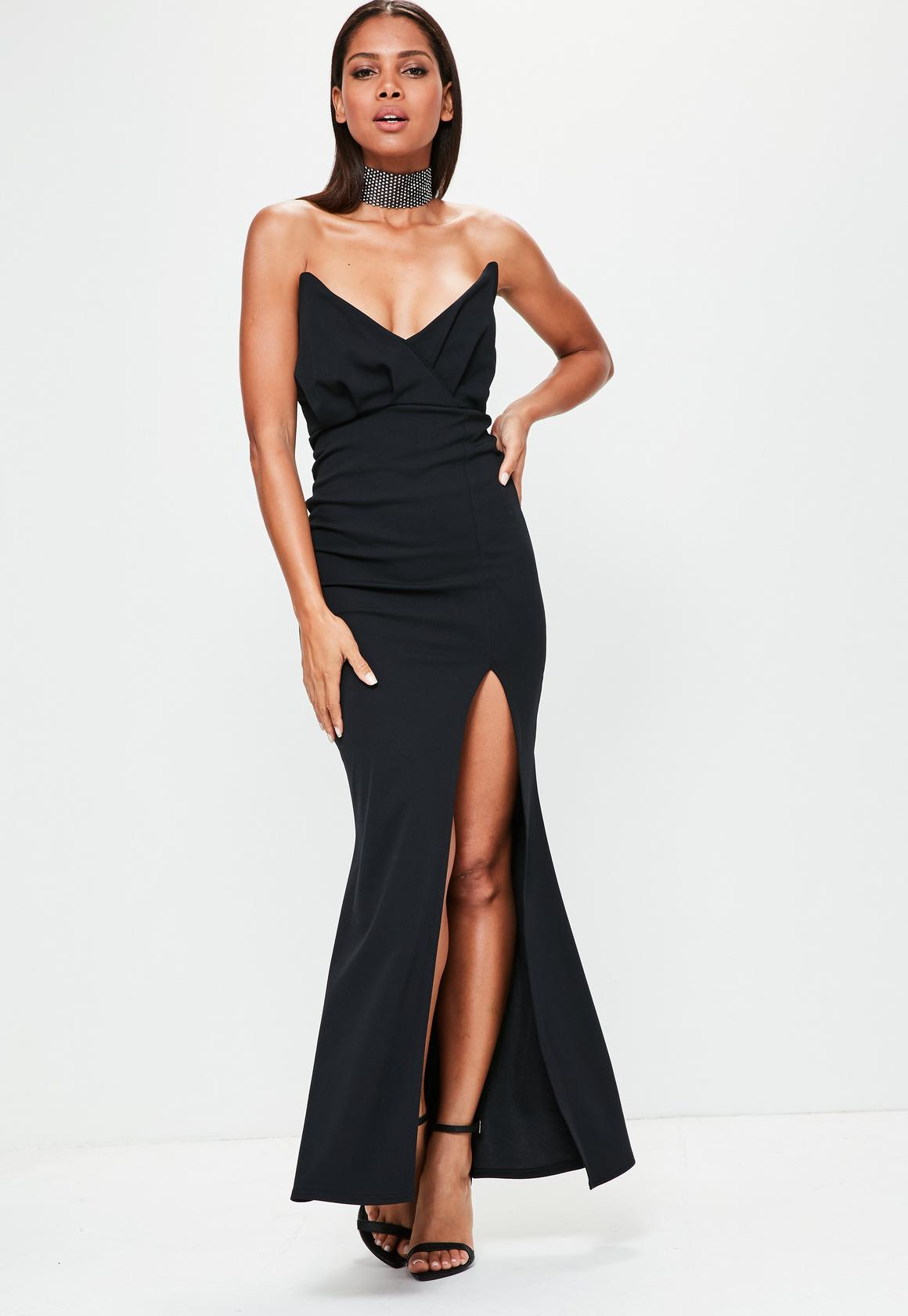 black bandeau wrap top maxi dress