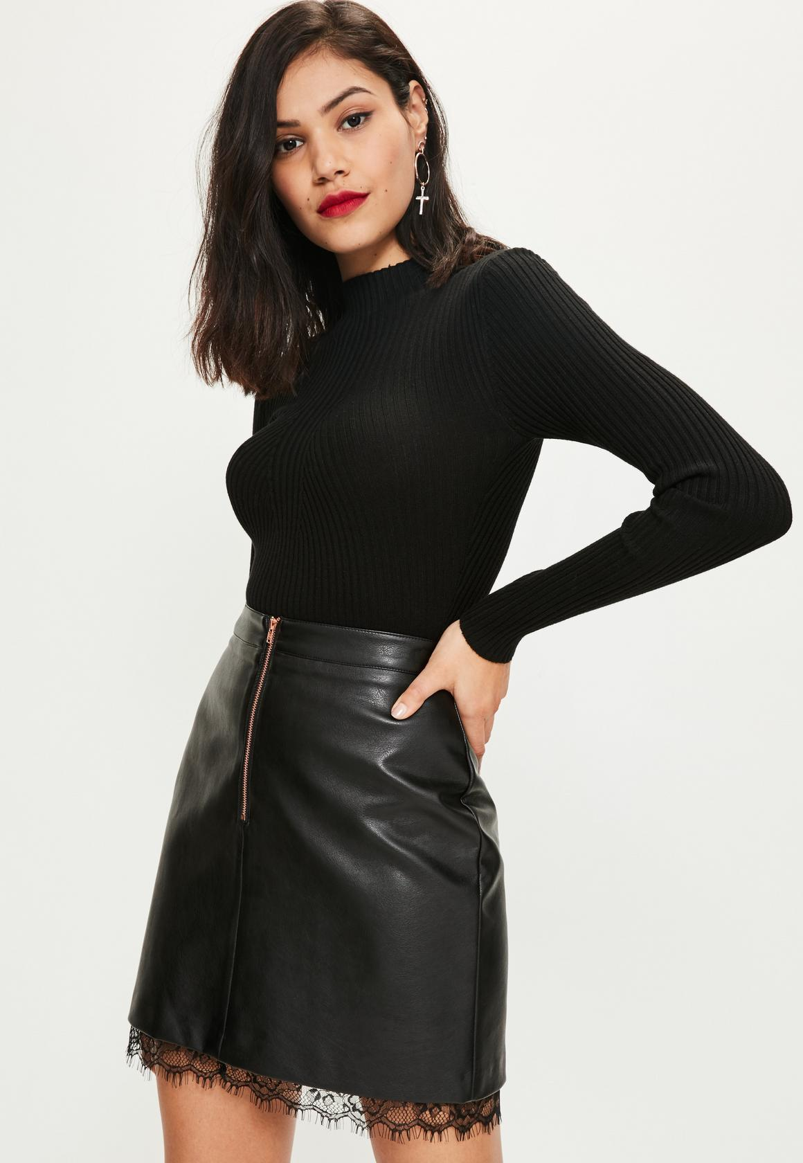 black faux leather lace hem mini skirt