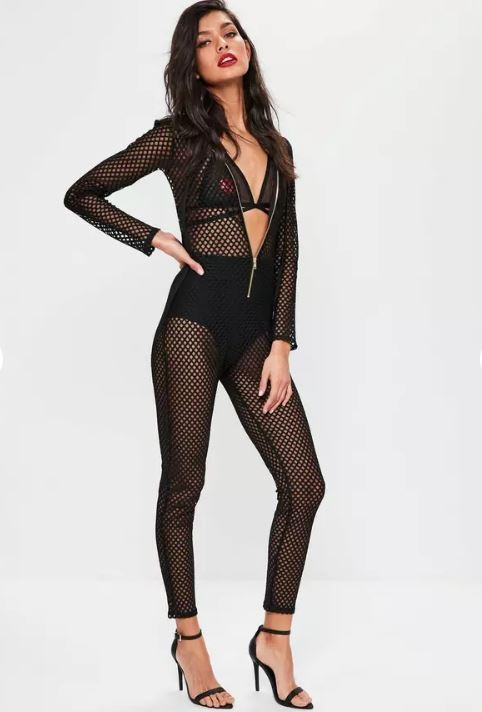 black hooded fishnet jumpsuit