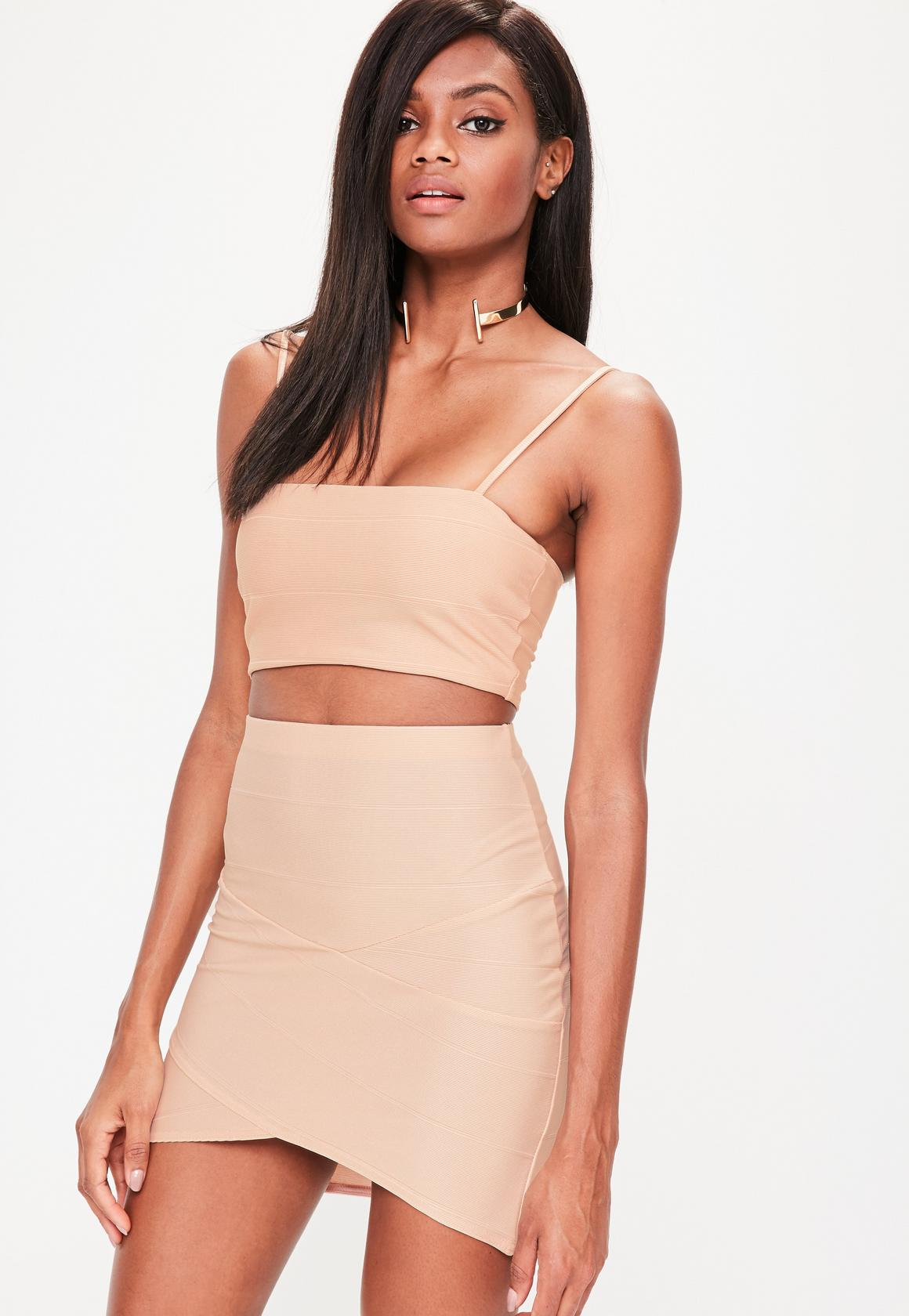 nude asymmetric mini skirt