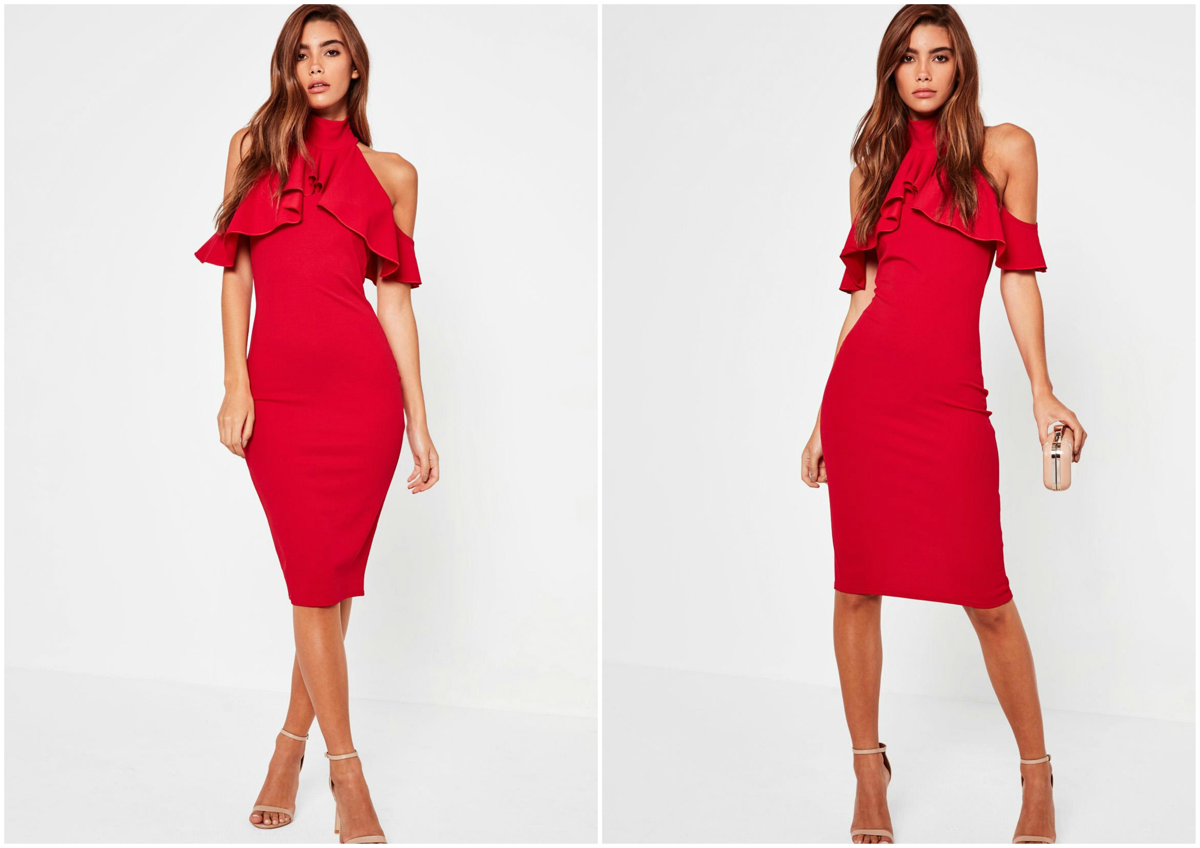 high neck frill cold shoulder midi dress red