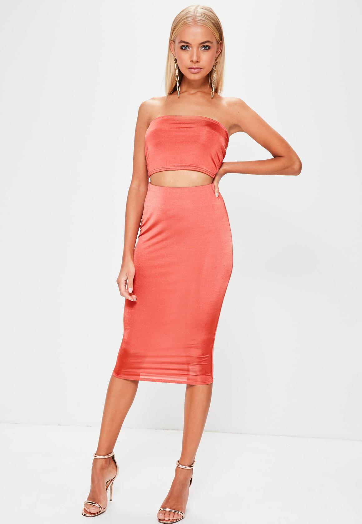 red slinky midi skirt