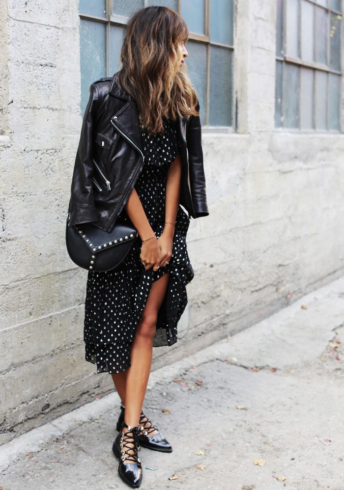 polka dot dress and leather jacket
