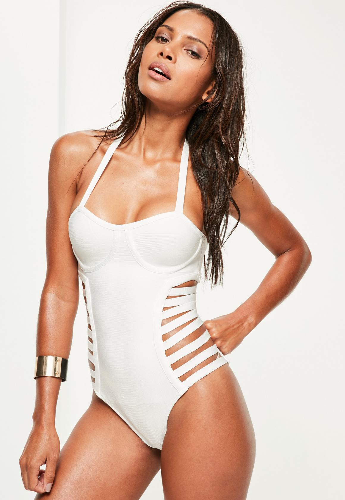 white bandage ladder swimsuit