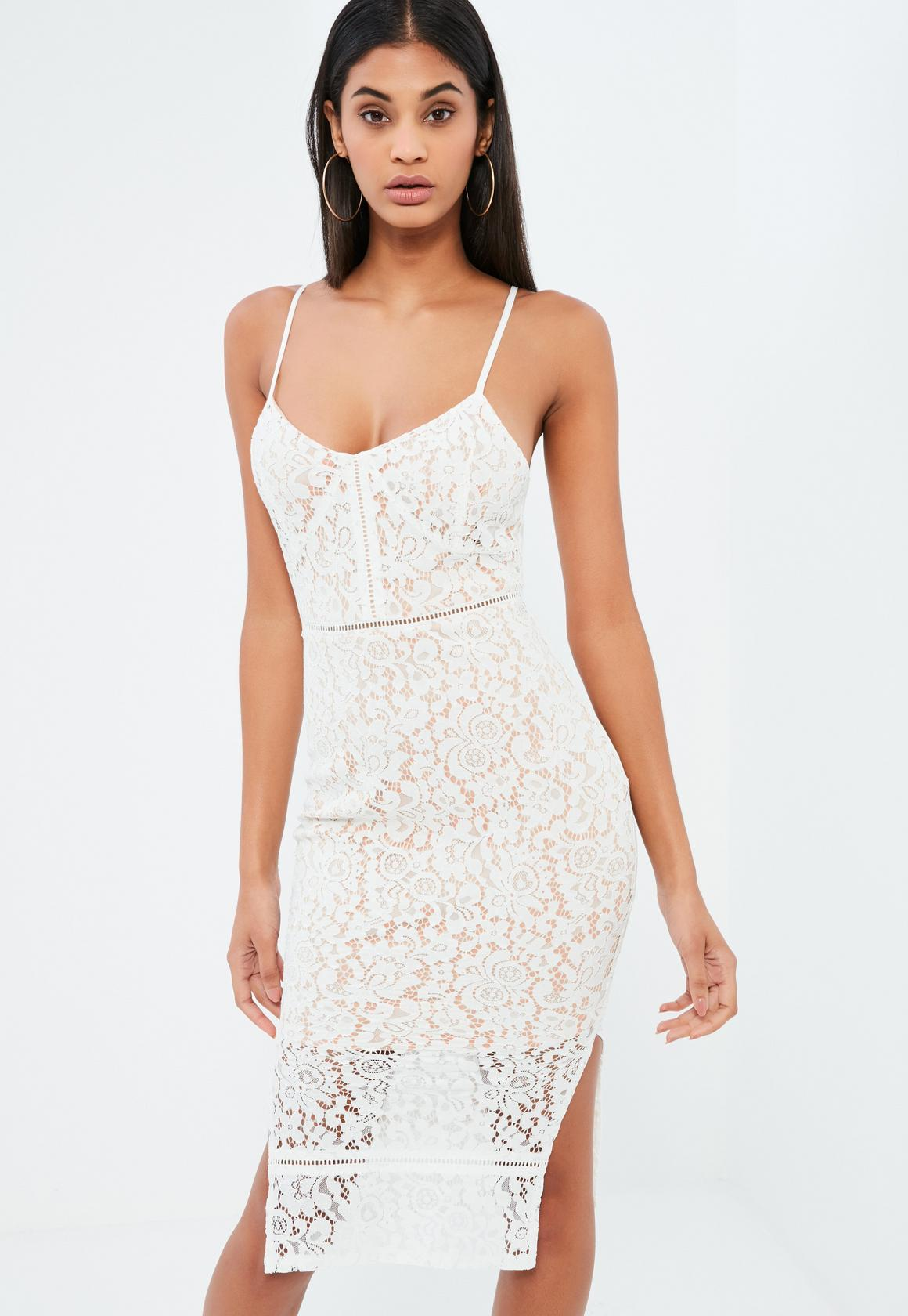 white strappy plunge midi dress