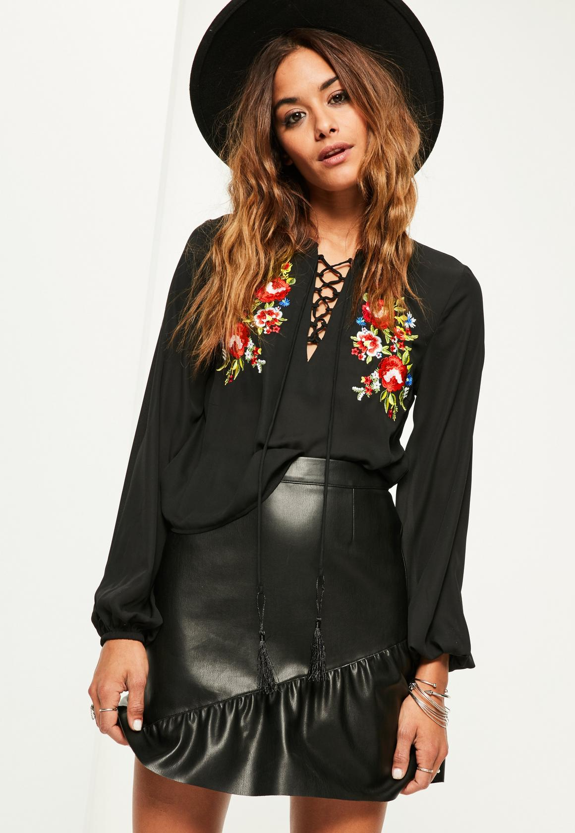 black embroidered blouse missguided