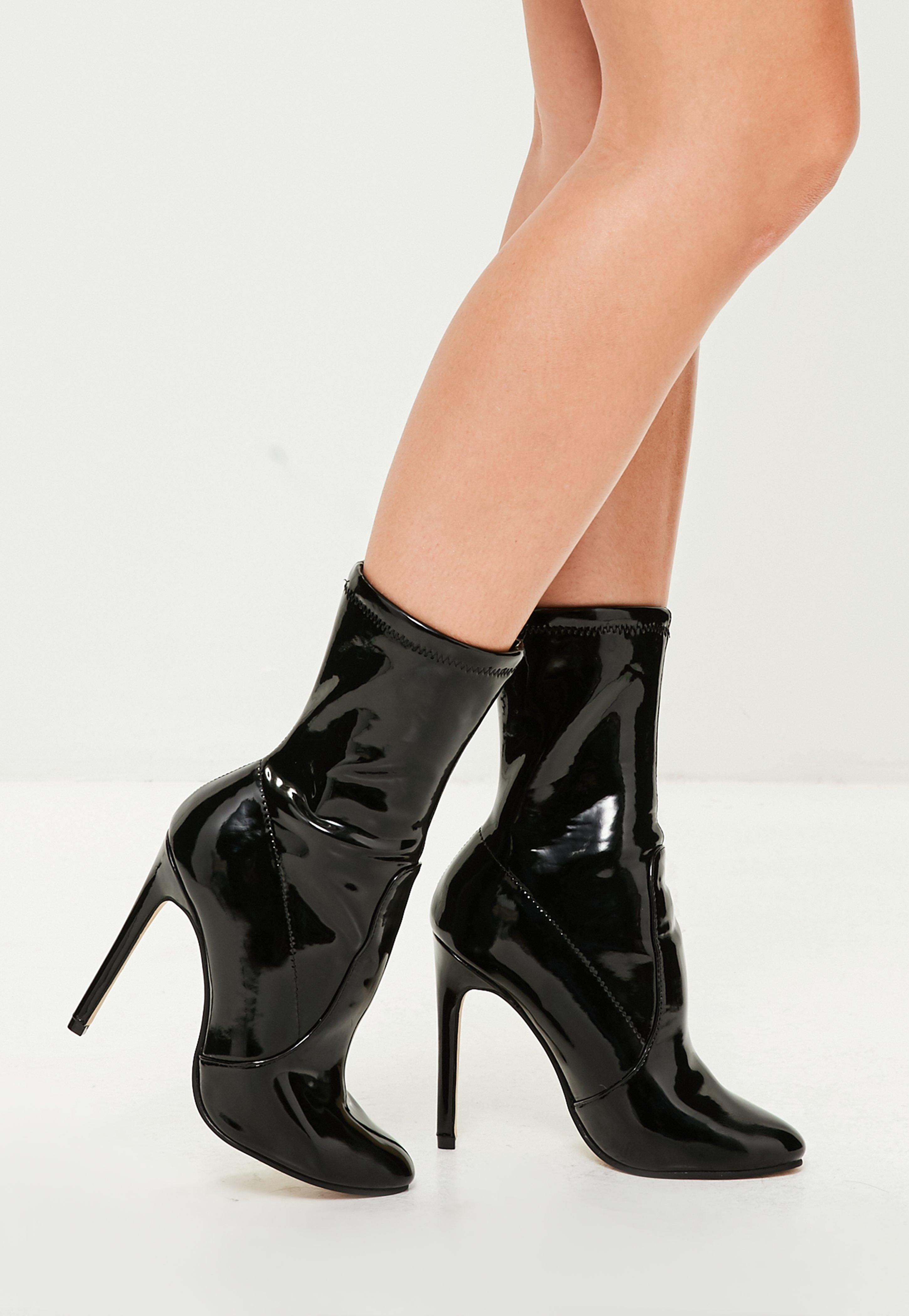 Black Vinyl Pointed Boot