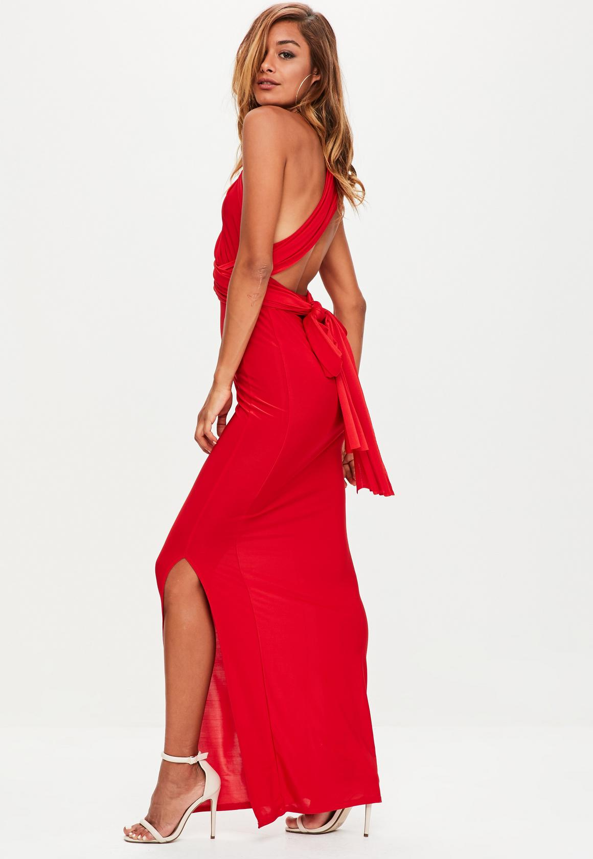 red slinky multiway dress