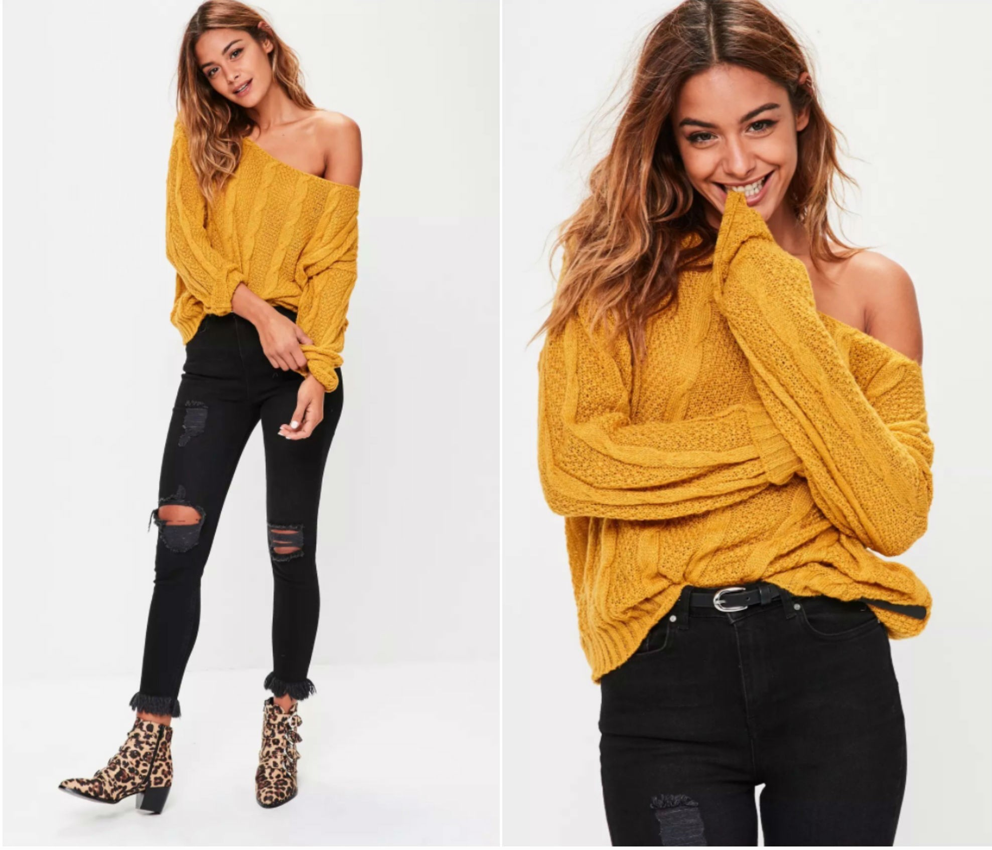 yellow off shoulder jumper