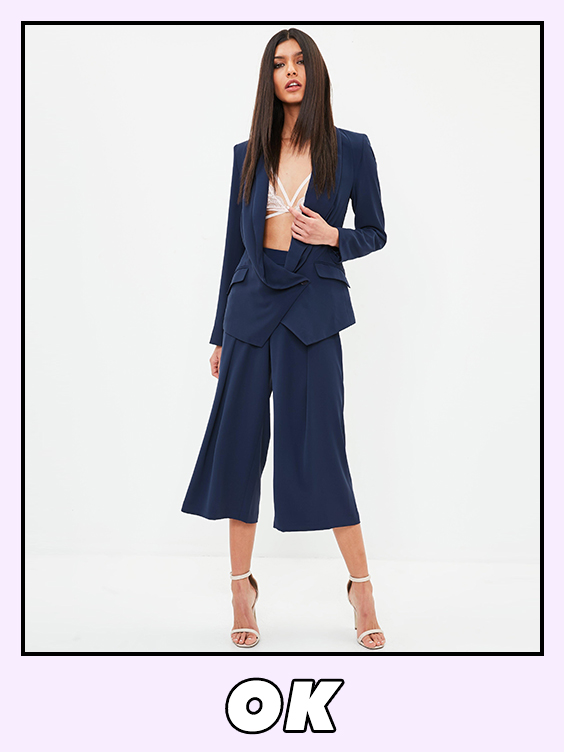 missguided tailored blue wide leg trouser