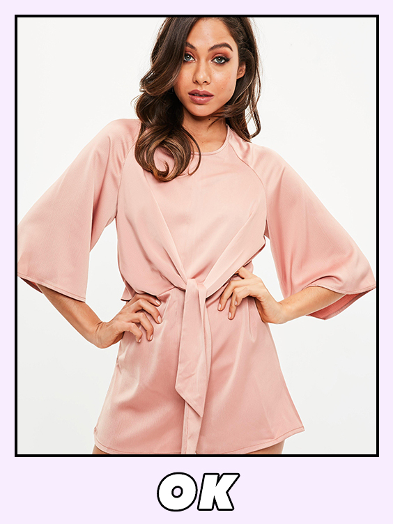 missguided pink tie front playsuit