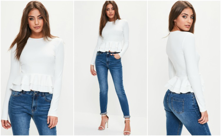 missguided white peplum frill top
