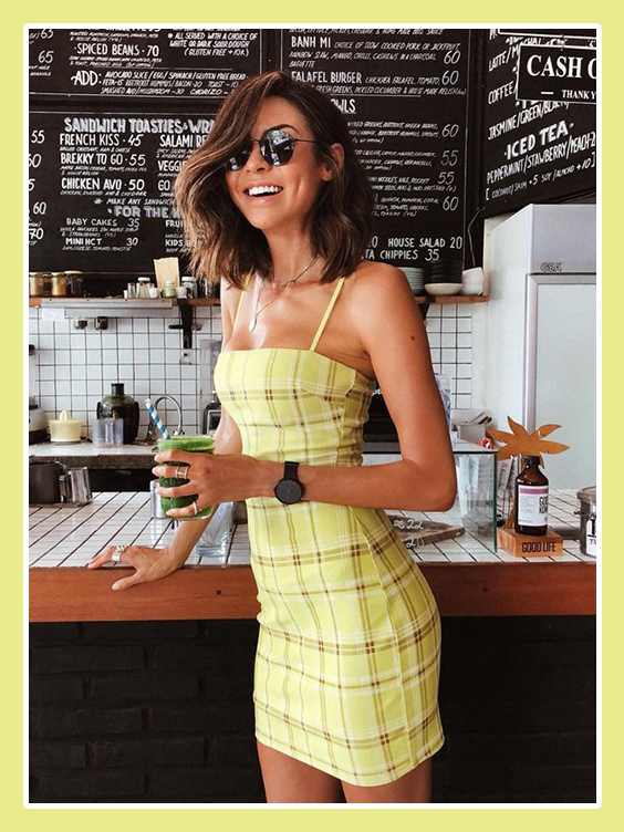 missguided yellow check bodycon dress inspo