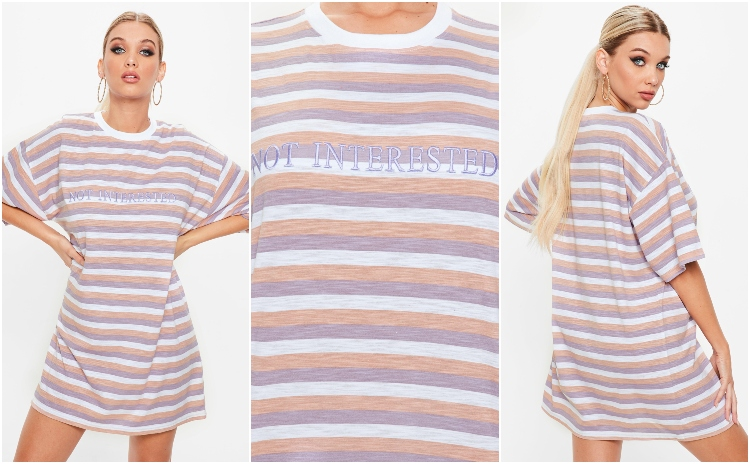 missguided lilac not interested slogan t-shirt dress