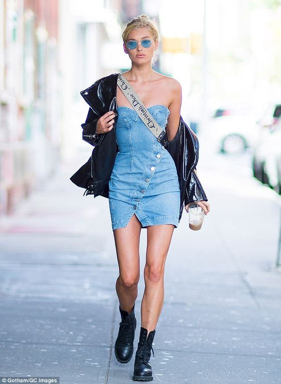 missguided denim dress inspo elsa hosk