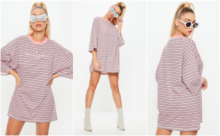 missguided pink you know it girl oversized striped t-shirt dress