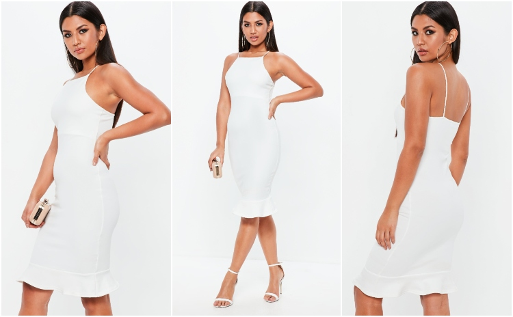 missguided white scuba frill hem midi dress