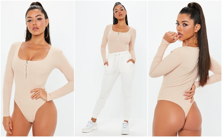 missguided pink zip front long sleeve bodysuit