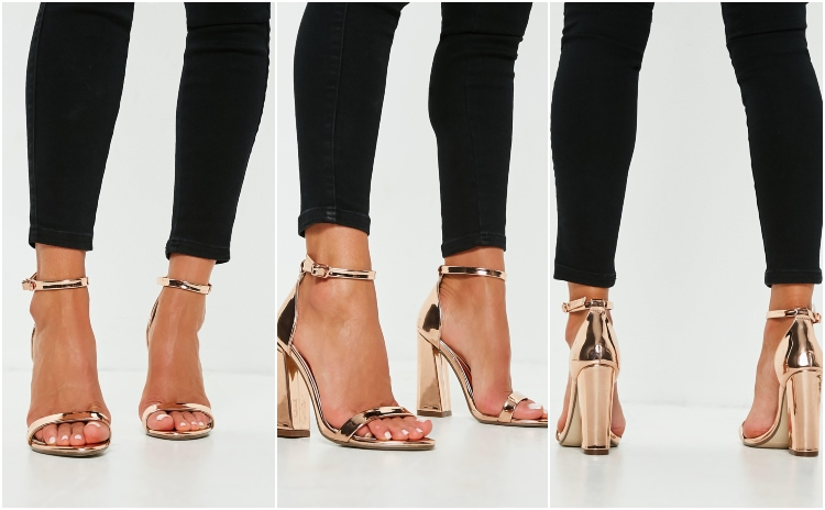 missguided rose gold flared block barely there heels