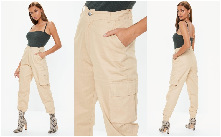 missguided tan plain cargo trousers