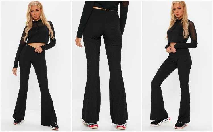 missguided black ribbed kick flare trousers