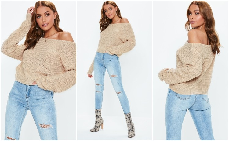 missguided nude crop off shoulder knitted jumper